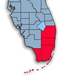 RealPro Group, Inc. Realtors - South East Florida Real Estate coverage area map